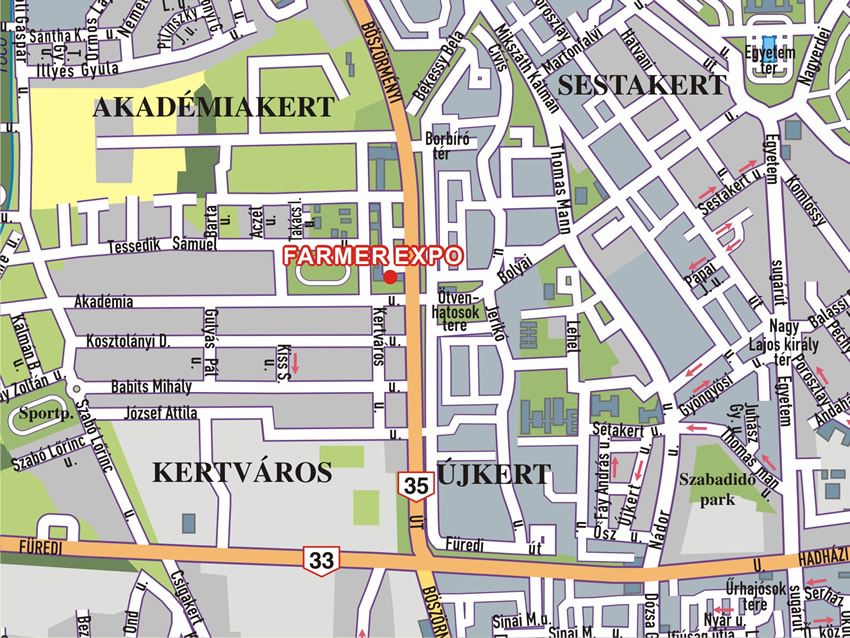 debrecen kertváros térkép Debrecen   a Farmer Expo helyszíne és környékének térképe debrecen kertváros térkép