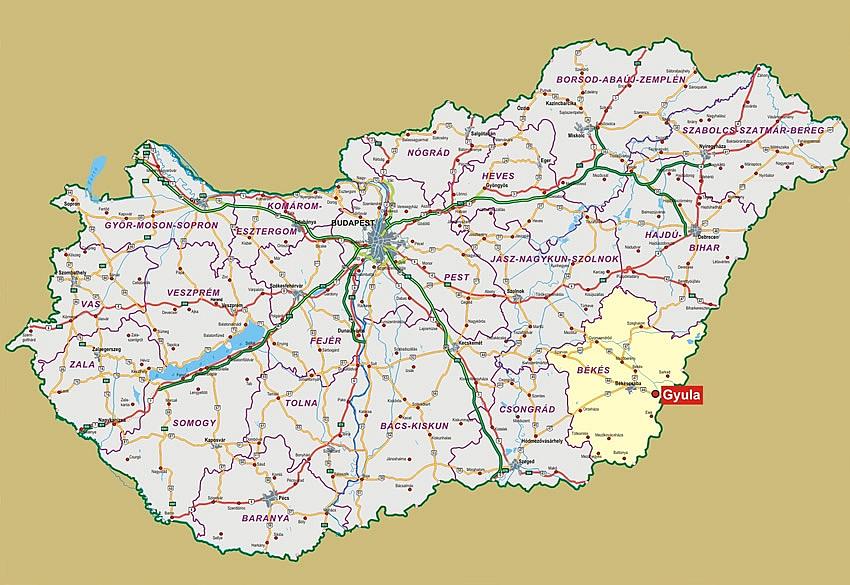 térkép gyula Gyula Magyarország áttekintő térképén   Hiszi Map Kiadó Kft. térkép gyula