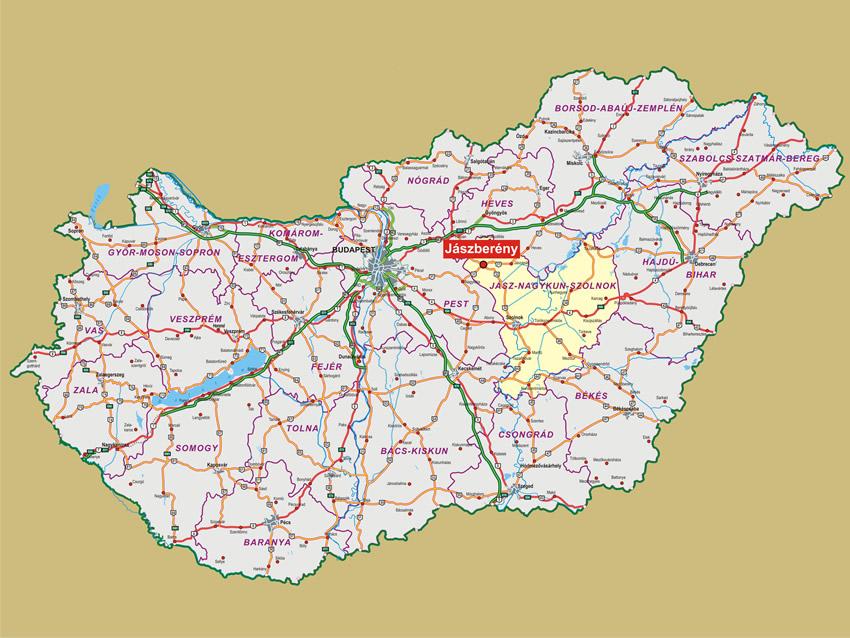 magyarország térkép jászberény Jászberény Magyarország áttekintő térképén   Hiszi Map Kiadó Kft. magyarország térkép jászberény