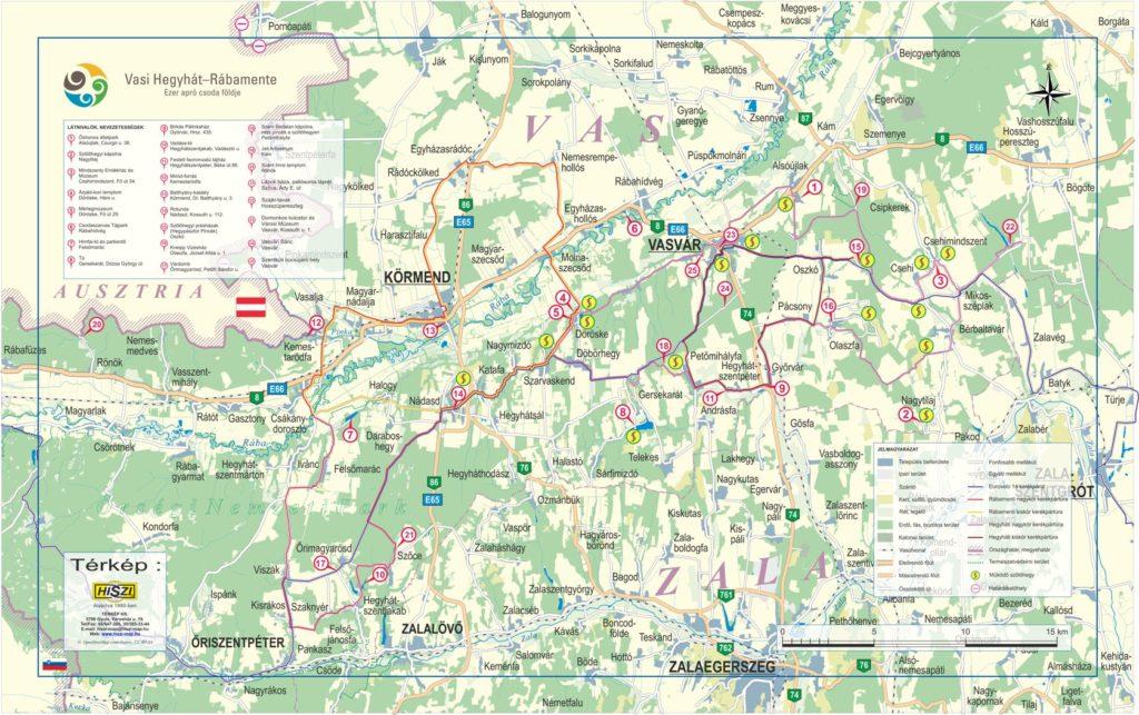 A vasi Hegyhát-Rábamente Egyesület területének információs térképe. A térkép megjeleníti a térség látnivalóit, nevezetességeit, továbbá az Eurovelo 14 kerékpárútvonalat, az ajánlott kerékpártúrákat és a működő szőlőhegyeket is.