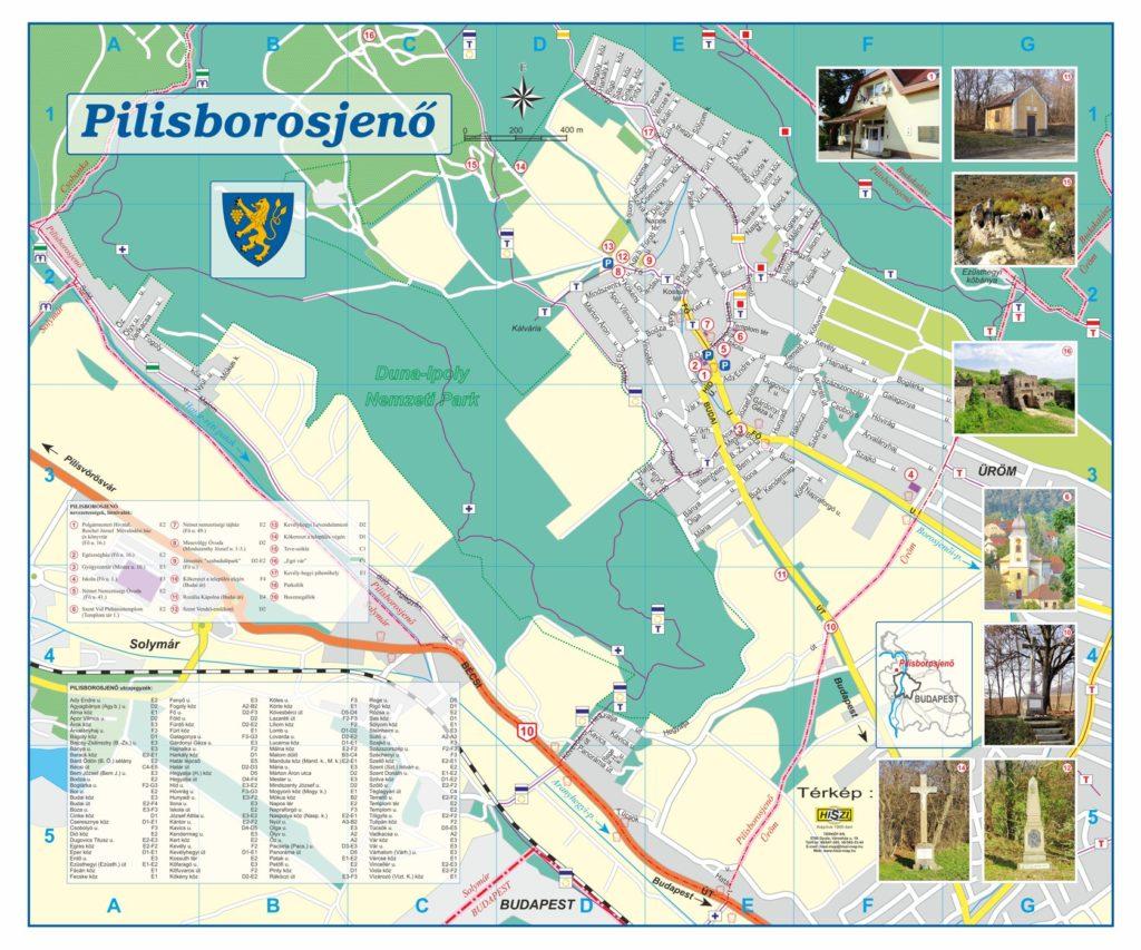 Elkészítettük a Pilisborosjenő község teljes közigazgatási területét ábrázoló,  utcaszintű  térképét, a településen kihelyezett egyedi nyomtatású, kültéri információs térképek alaptérképeként. A megszerkesztett térképen fotókkal illusztrálva megjelennek a látnivalók, nevezetességek, továbbá az ide látogató turisták  tájékozódását segítve, elhelyeztük település utcalistáját is.