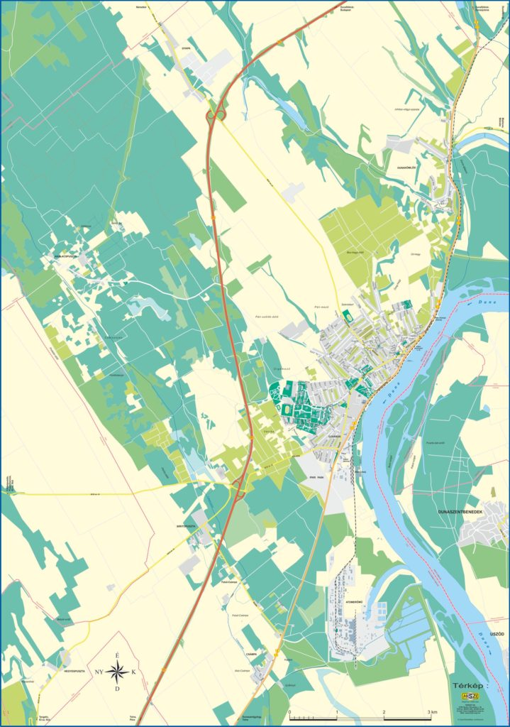 Paks belterületi, utcaszintű térképét aktualizáluk és terjesztettük ki a város teljes közigazgatási területét ábrázoló, utcaszintű térképé.