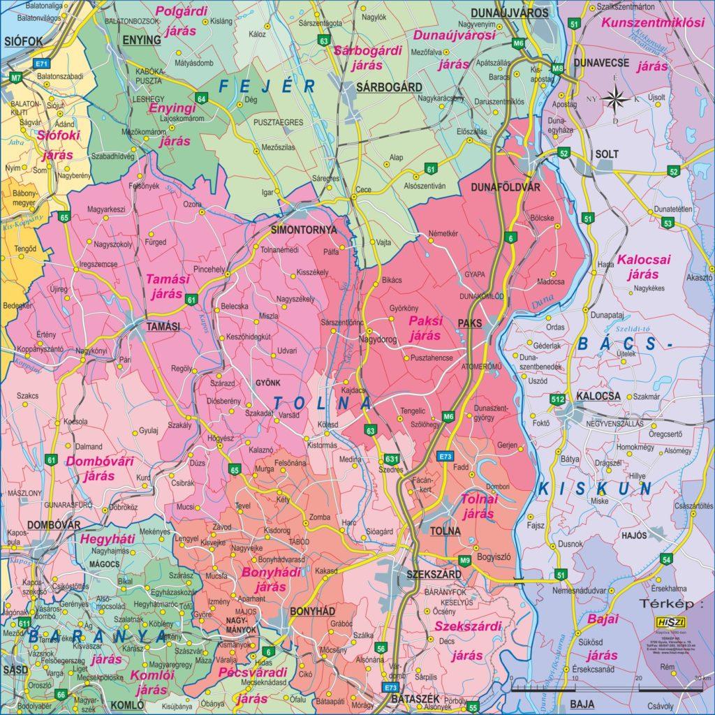 A Paks utcaszintű térképéhez kapcsolódó projekt kapcsán készítettük el a Paks környékét ábrázoló, egyedi szerkesztésű digitális térképet.  Ezt a térképet a grafikus felhasználású, 1:500.000-es léptéknek megfelelő felbontású, település szintű, közigazgatási tematikájú Magyarország járástérképünk metszeteként szerkesztettük meg.