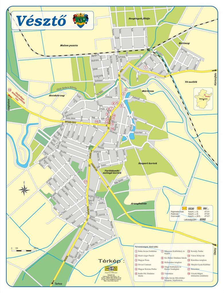 Vésztő város megrendelésére készítettük el a település, egyedi szerkesztésű, belterületi, utcaszintű  információs térképét. A térképen a látnivalók és a nevezetességek mellet a település legfontodsabb információt is megjelenítettük.