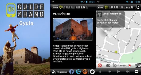 A TÉRKÉP Kft. - együttműködésben az MTA-SZTAKI-val - a Várszínházi szezon nyitányával egy időben elindította a GUIDE@HAND okostelefonos applikációt Gyula városáról.