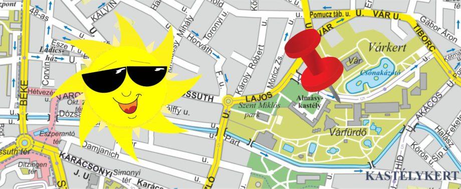 A Gyulai Várfürdő főbejárata előtti információs térkép idei frissítése …