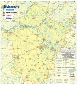 Békés megye horgász, kerékpáros és loavas térképének első oldala.