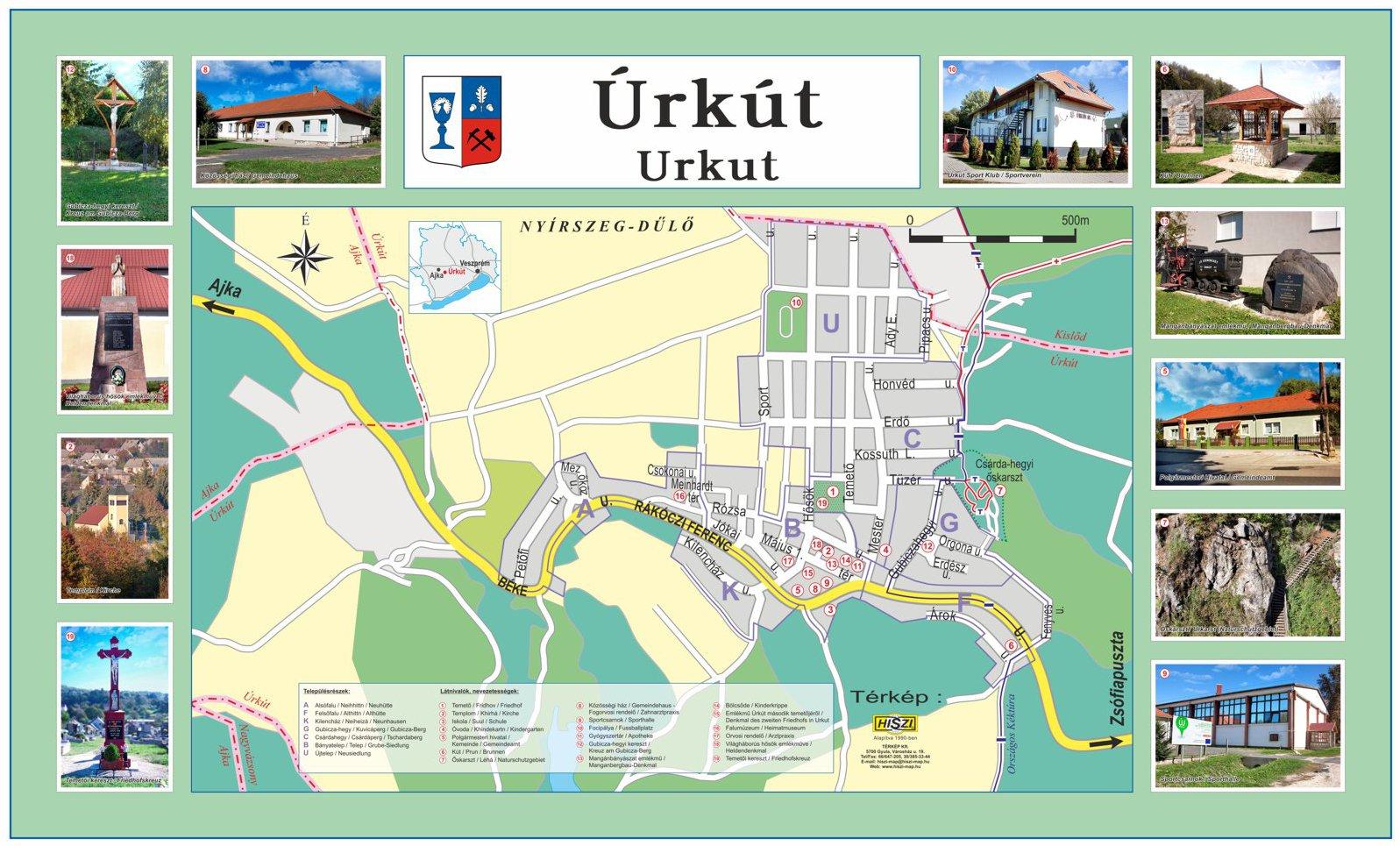Úrkút község információs térképe