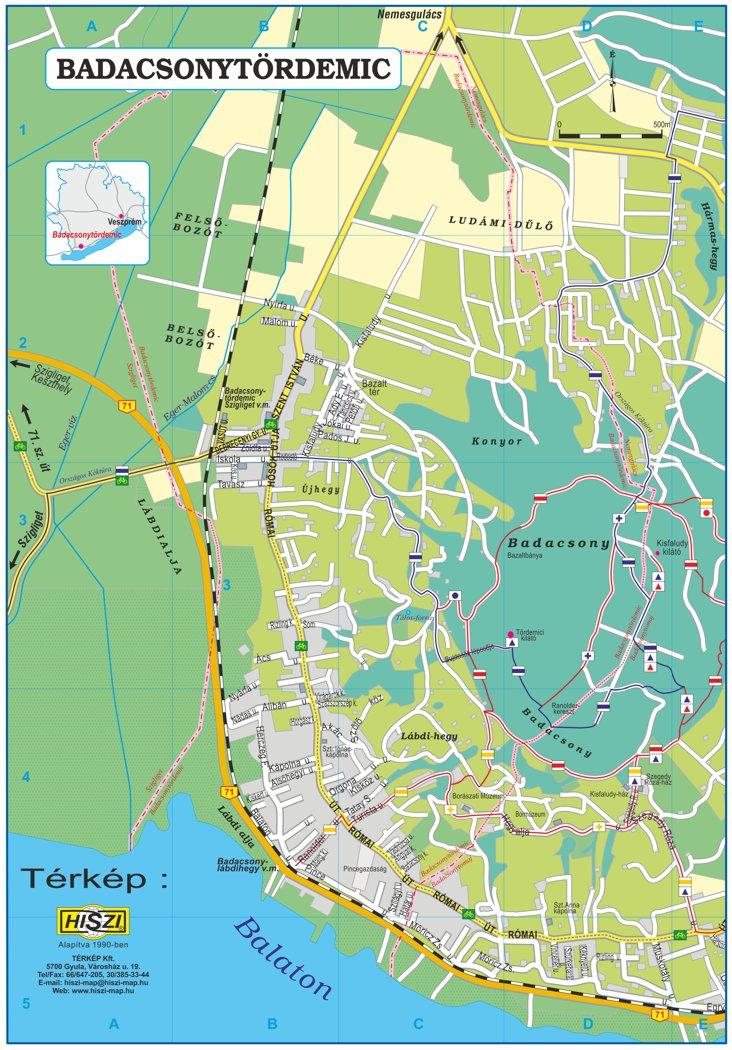 Badacsonytördemic térképe a turistaút hálózattal